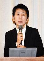 地球温暖化対策や地域経済の循環をテーマに講演した枝廣淳子さん=佐賀市のグランデはがくれ