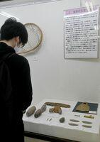 展示に見入る来場者=吉野ケ里歴史公園