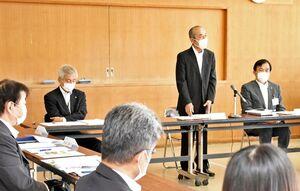 多久市の次期総合計画の策定に向けて開かれた審議会の初会合=市役所