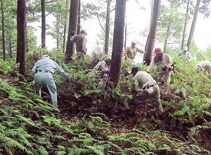 カネコシダの保護活動を行う黒髪山乳待坊会の人たち=武雄市山内町の黒髪山