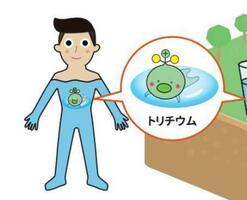 復興庁が公開したチラシに登場するキャラクター化された放射性物質トリチウム(復興庁ホームページより)