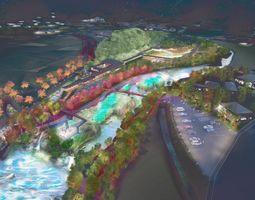 嬉野温泉観光協会が提言した「轟の森公園」の夜のイメージ(提供)