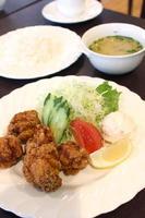 鶏の竜田揚げランチ650円。 ご飯、みそ汁、コーヒーが付く、+150円でフリードリンク