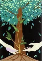 佐藤真妃さんが切り絵で制作したポスター(提供)
