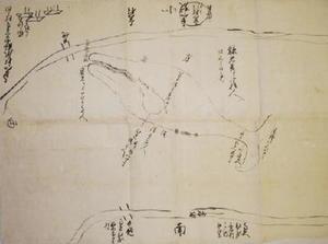六角川に迷い込んだ鯨を描いた「新橋江筋入込候鯨図」(多久家資料・多久市郷土資料館蔵)