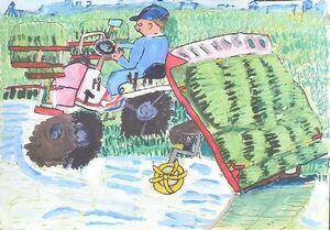 農林水産大臣賞の桜岡小2年の川〓田すみれさんと作品「なえがいっぱいのるよ」