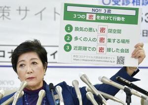 3月、記者会見で「3密」を避けるよう呼び掛ける小池百合子東京都知事