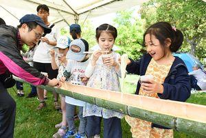 神埼そうめんまつりで、青竹を流れてくるそうめんに手を伸ばす家族連れ=吉野ケ里歴史公園
