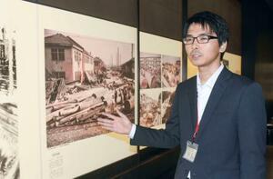 特別展を前に報道関係者に公開された、伊勢湾台風を記録したカラー写真=20日午後、名古屋市博物館
