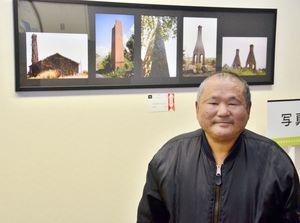 一席の知事賞に輝いた宮崎浩さんと、作品「昔の名前ででています」=佐賀市の県立博物館