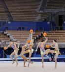 新体操団体代表が本番会場で演技