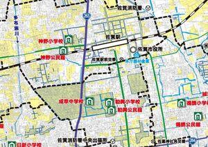 佐賀市中心部の内水ハザードマップ(一部)。黄色の部分は50センチ未満の浸水を想定している
