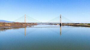 風の穏やかな日、水鏡のように凪(な)いだ筑後川に幾何学模様を映す天建寺橋=三養基郡みやき町