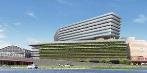 JR九州が長崎駅に建設する新たな駅ビルの外観イメージ図(同社提供)