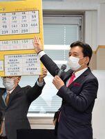 新型コロナウイルスの対策本部会議で、感染者数の推移を指し示す山口祥義知事=7日午後、佐賀県庁