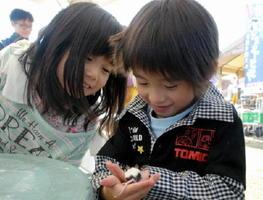 パンダマウスを手に乗せて遊ぶ子どもたち=吉野ケ里歴史公園