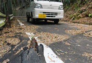 道路下に地下茎を伸ばしアスファルトを突き破って芽を出したタケノコ=神埼郡吉野ヶ里町松隈