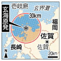 長崎県壱岐島と玄海原発の30㌔圏