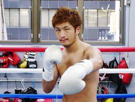 ボクシング東洋太平洋フライ級チャンピオンの中山佳祐=東京・五反田のワタナベボクシングジム