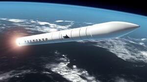 スペースワンの小型ロケット「カイロス」が軌道上を飛行するCG