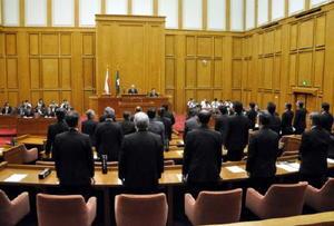 参議院選挙制度改革に対する意見書などを可決し、閉会した佐賀県議会=本会議場