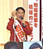 個人演説会で主張を訴える岩田候補=佐賀市の南川副公民館