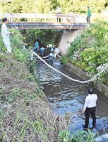 山犬原川に流れ込んだ重油を取り除く作業をする多久市職員ら=多久市北多久町