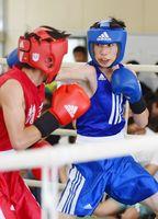 ボクシングライトフライ級決勝 的確に相手を攻める高志館の西大雅(右)=佐賀市の県総合運動場ボクシング場