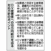 DV被害者への10万円給付を巡る対応方針のポイント