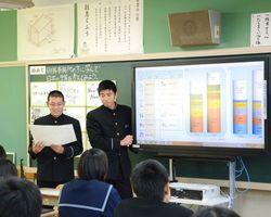 グループで考えた予算を発表する生徒=鹿島西部中
