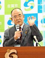 佐賀市長選に関し、3月議会で進退を表明する考えを示した秀島敏行市長=市役所