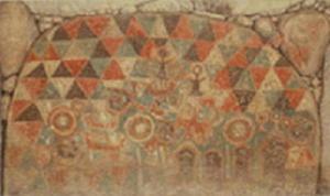 田代太田古墳石室奥壁壁画(模写)=鳥栖市教委提供