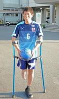 アンプティサッカー日本選抜メンバーとして国際大会に初出場する松田隆洋選手=佐賀市の佐賀工業高
