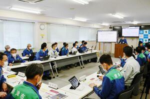 「G空間情報収集システム」を活用して行われた防災訓練=唐津市役所