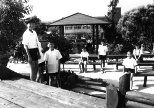 父母らが電柱の廃材などを使って造った展望公園=平成10年6月4日