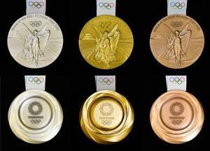 2020年東京五輪の(左から)銀、金、銅の各メダル。表(上)にはギリシャ神話の勝利の女神ニケが描かれ、裏は立体的にうずが巻いているような形状をしている