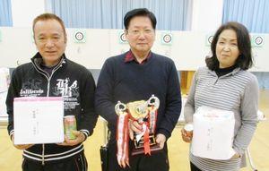 佐賀ヤマト吹矢クラブの2月例会の上位入賞者