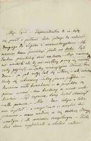 ショパン「ヴォイチェフ・グジマワ宛書簡」(1843年10月、インク・紙、NIFC=国立フリデリク・ショパン研究所附属フリデリク・ショパン博物館)