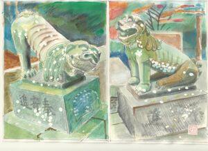 千栗八幡宮境内社・武雄神社前の狛犬