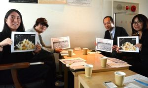 フリーペーパーを制作した興業組合のメンバー=佐賀市松原のシアター・シエマ