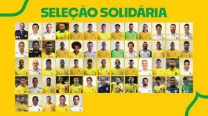 貧困世帯に生活必需品などを届けるための義援金を寄せたブラジル代表の選手ら(ブラジル・サッカー連盟提供・共同)