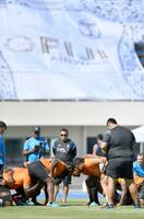ウルグアイ戦に向け、スクラムの練習をするフィジー代表=岩手県宮古市