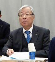 会見する九州電力の瓜生道明社長=東京・大手町の電気事業連合会