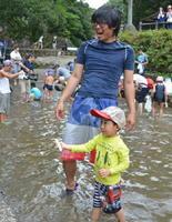 大人も子どもも一緒になって楽しんだアユのつかみ取り大会=有田町の猿川渓谷