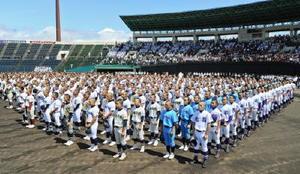 青空の下、開会式で整列する参加41校の選手たち=佐賀市のみどりの森県営球場