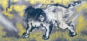 長澤芦雪「唐獅子図屏風」 江戸時代の絵師で、大胆な構図が持ち味。ダイナミックに描かれた唐獅子を、金箔を施した背景が際立たせている。