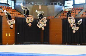新体操男子団体 ダイナミックな演技を見せる神埼清明=佐賀市のSAGAサンライズパーク総合体育館