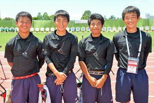 アーチェリー男子団体で4位入賞を果たした高志館=熊本県営八代運動公園