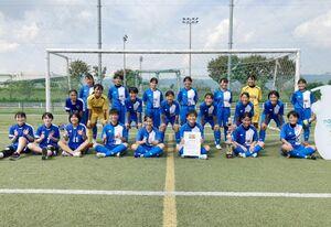 優勝した神埼の選手たち=佐賀市健康運動センター(提供)
