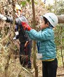工作や枝打ち体験 親子連れら樹木に親しむ